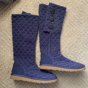 UGG Classic Cardy Lattice Navy Tall Knit Boots